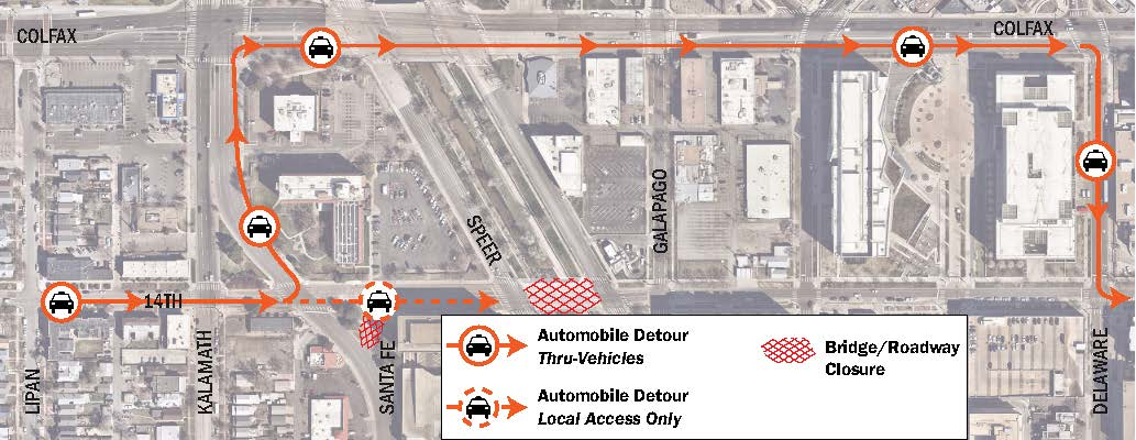 14th Ave Bridge Over Cherry Creek vehicle detours map