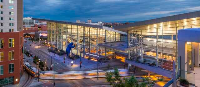 Evening image of Colorado Convention Center building