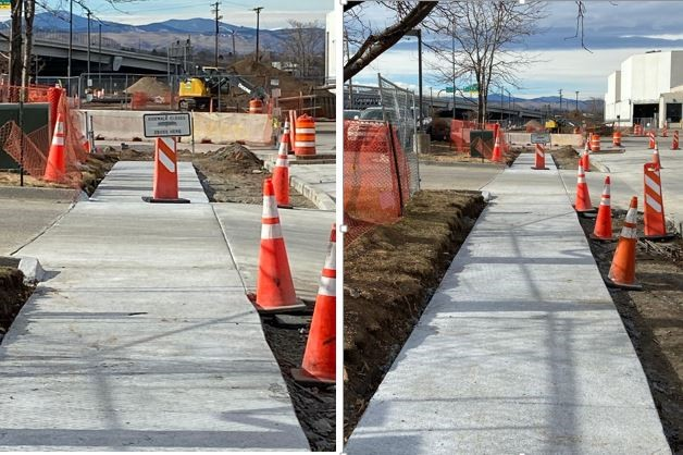 Finished sidewalk and driveway concrete pours on the southeast corner of Exposition and Broadway at ToyExus.