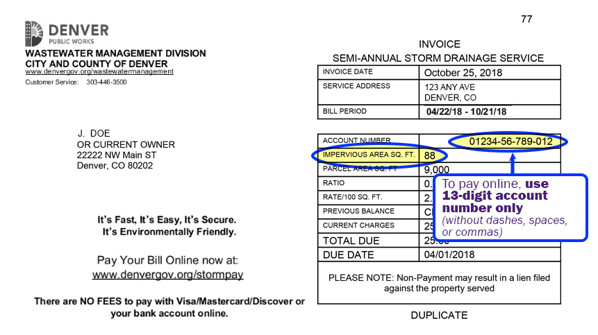 Annotated image of sample storm drainage bill highlighting account number and impervious area data fields