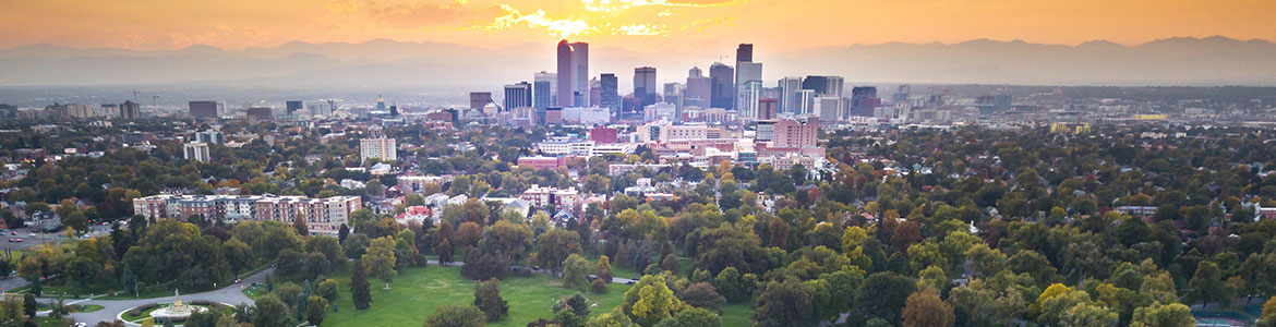 Drone view of Denver skyline over park