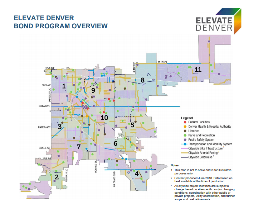 Elevate Denver Bond Program Overview Map Graphic