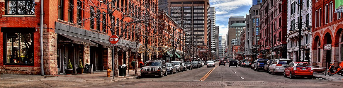 Cars parked downtown on street