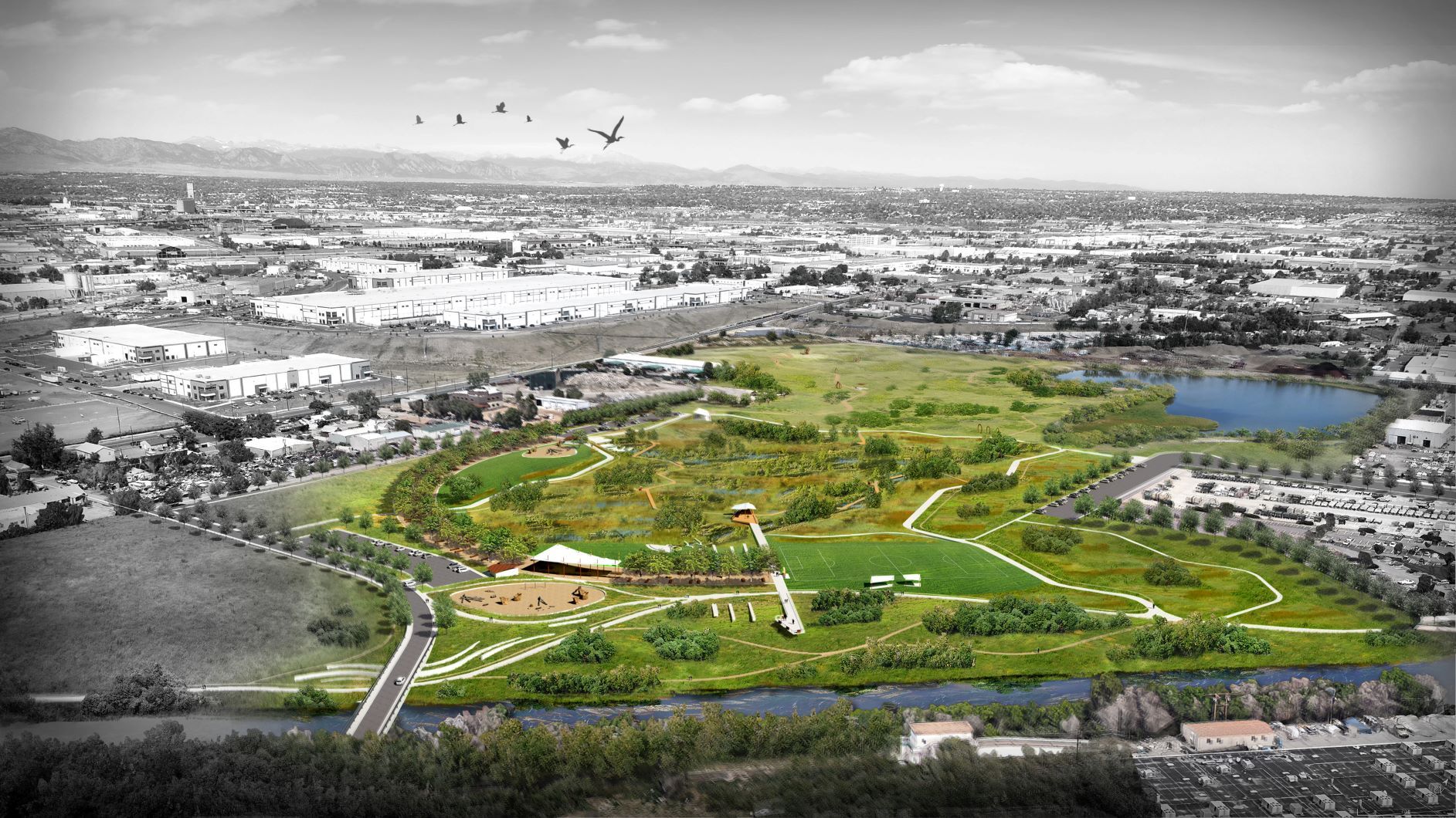 Aerial rendering of Heron Pond, Heller Open Space and Carpio-Sanguinette Park